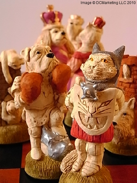 Cats And Dogs Hand Painted Theme Chess Set
