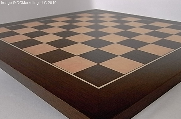 Deluxe Wengue and Maple Wood Veneer Chess Board - 35cm