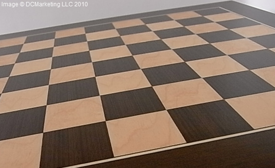 Deluxe Wegue and Maple Wood Veneer Chess Board - 35cm