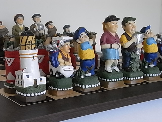 Hand Painted Golf Theme Chess Set