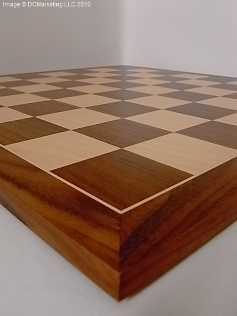 Deluxe Walnut and Maple Wood Veneer Chess Board - 54cm
