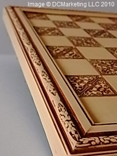 'Victorian Ivory' Ornamental Resin Chess Board - 35.5cm